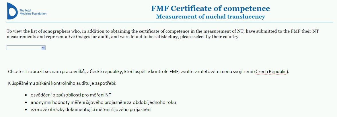 Aktuální seznam FMF auditovaných sonografistů v ČR